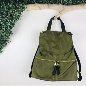 Steve Madden   olive green nylon back pack zip